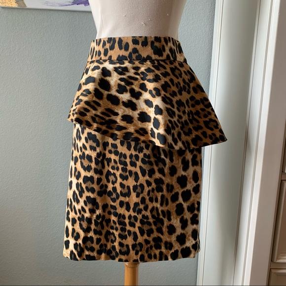 Zara Leopard Print Pencil Skirt with Peplum
